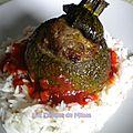 Courgettes rondes farcies à la grecque (viande, feta, ...)