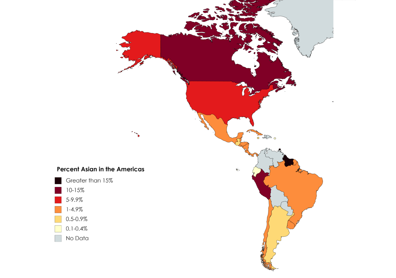 Percent Asian in the Americas
