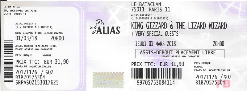 2018 03 01 King Gizzard Bataclan Billet
