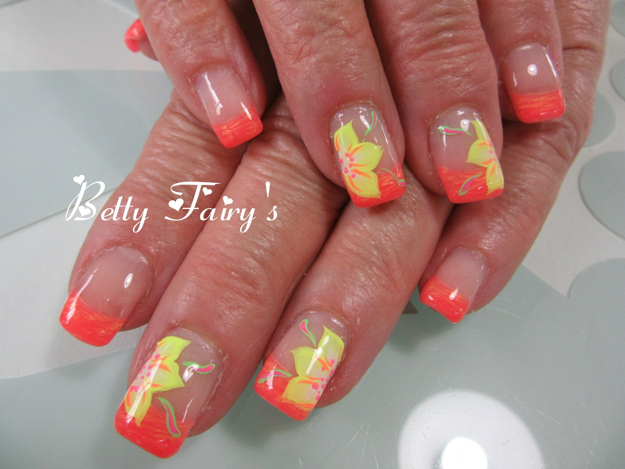 French orange golden, gel mask, déco one stroke , Féerique