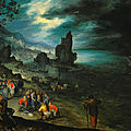 Jan brueghel the elder, an extensive coastal landscape with fishermen landing and selling their catch, jonah being cast overboar