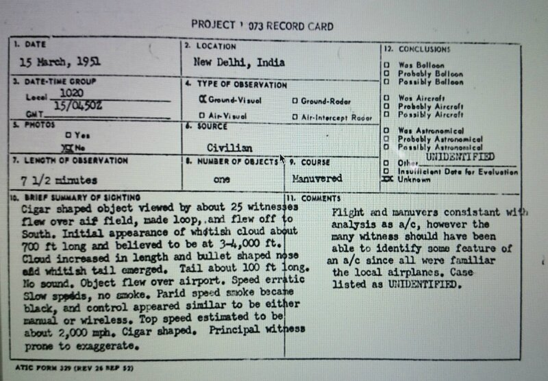 Ufo New Delhi 15 mars 1951