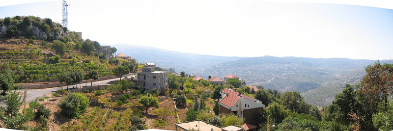 A panoramic photograph of the village of Kfarakab established by the Maalouf family c
