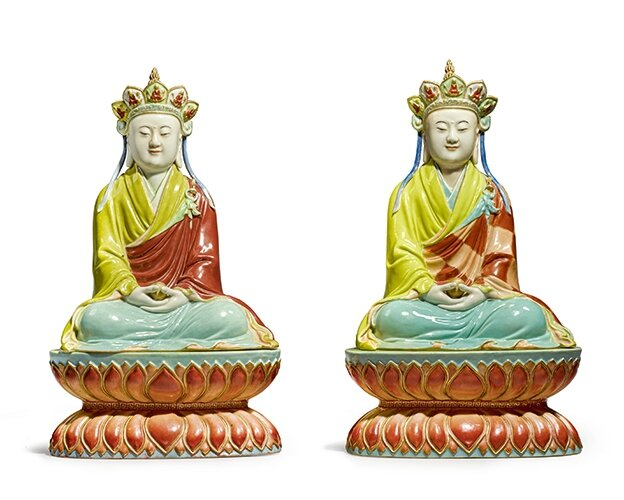 Two Extremely Rare Famille-Rose Enameled Porcelain Figures of Ksitigarbha, Qianlong-Jiaqing Period