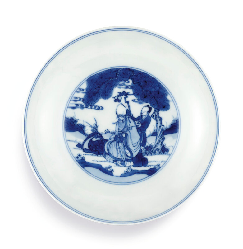 A fine blue and white 'Eight Immortals' dish, Mark and period of Kangxi (1662-1722)