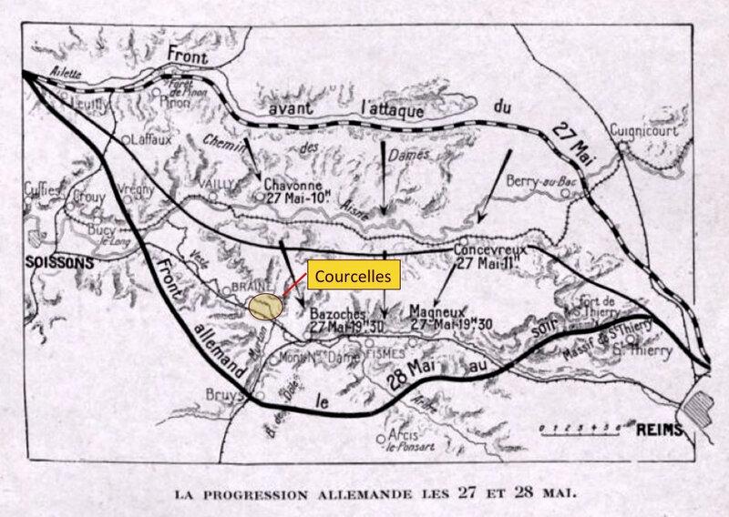progression allemande, 27 et 28 mai 1918, légendée