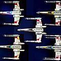5 x-wings de l'escadrille rouge