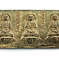 An inscribed bronze votive plaque of the five tathagatas, early ming dynasty
