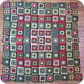 Ma green&red blanket square : l 'assemblage !!!