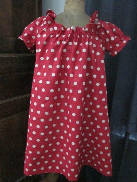 Robe ALBANE en lin rouge à pois ficelle (3)