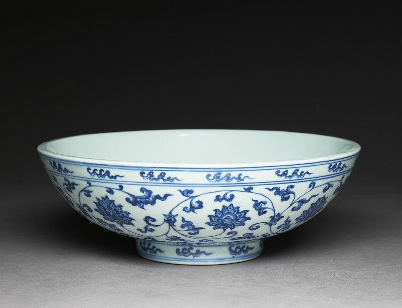 Blue-and-white bowl with lotus scrolls, Ming Dynasty, Xuande Period (1426 - 1435)
