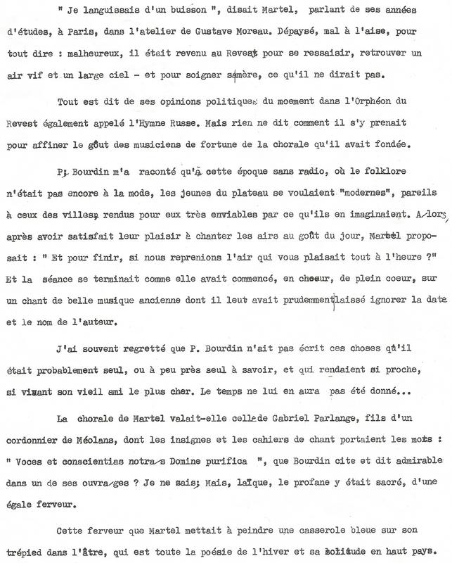 Eugène Martel.(1). Une page de Marthe Savon-Peirron, amie commune à Eugène et Serge.