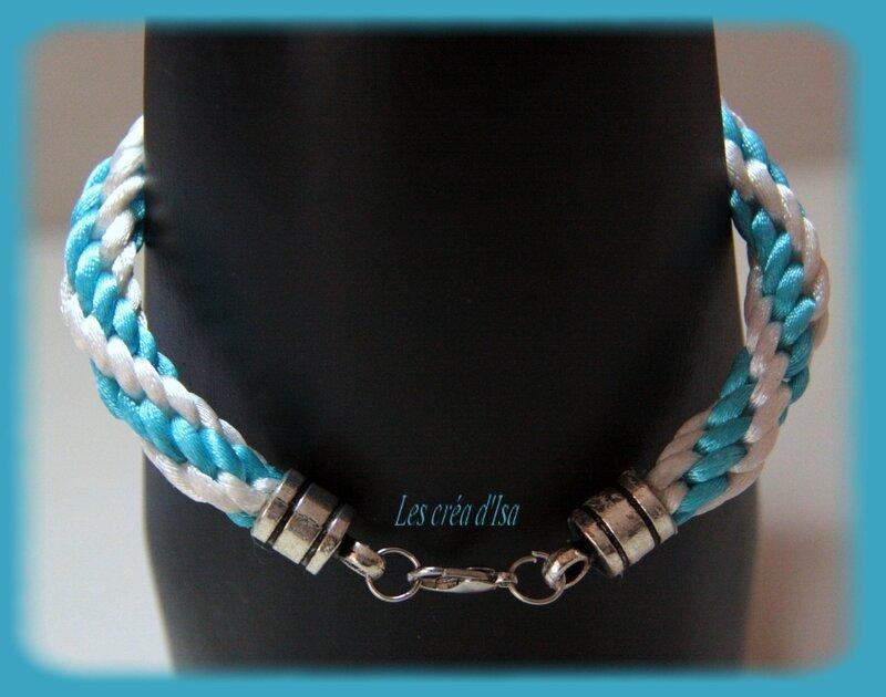 bracelet kumihimo blanc bleu verso