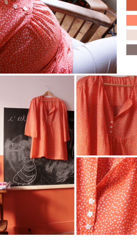 voile coton orange pois