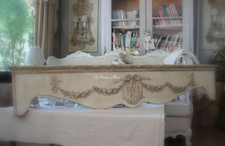 Cantonniere fronton haut de fenetre guirlande de fleurs médaillon ange noeud decoration de charme shabby le grenier d'alice