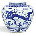 A blue and white 'dragon' jar, Mark and period of Jiajing (1522-1566)