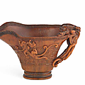 A rare archaistic rhinoceros horn libation cup, Ru yu two-character mark, 17th-18th century