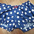 Culotte BIANCA en coton bleu à gros pois blancs - noeud rouge (2)