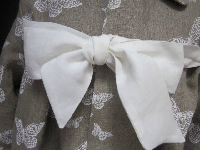 Manteau en lin brut imprimé papillon écru - noeud de lin écru (4)