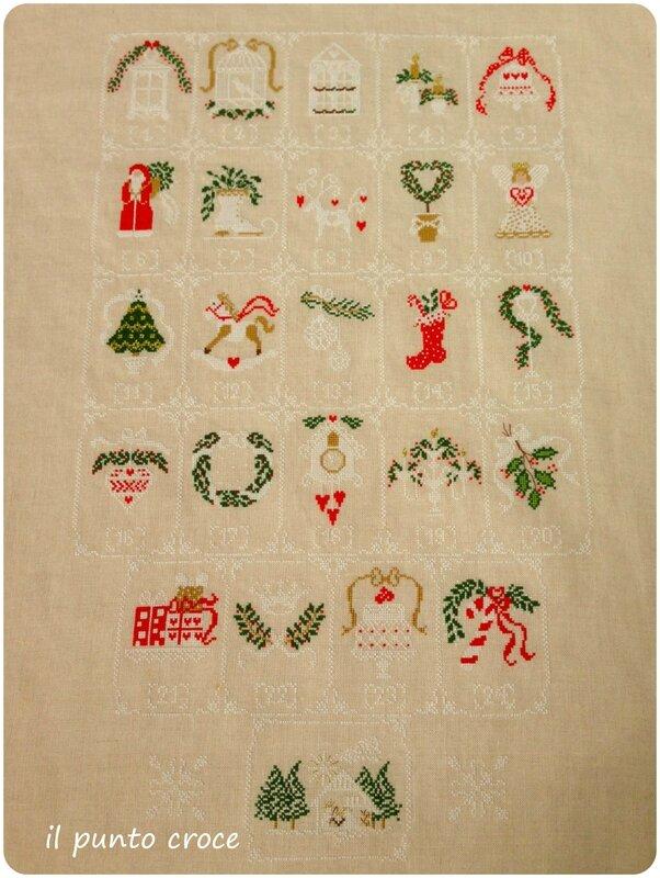 Shabby Advent Calendar Cuore e Batticuore - il punto croce