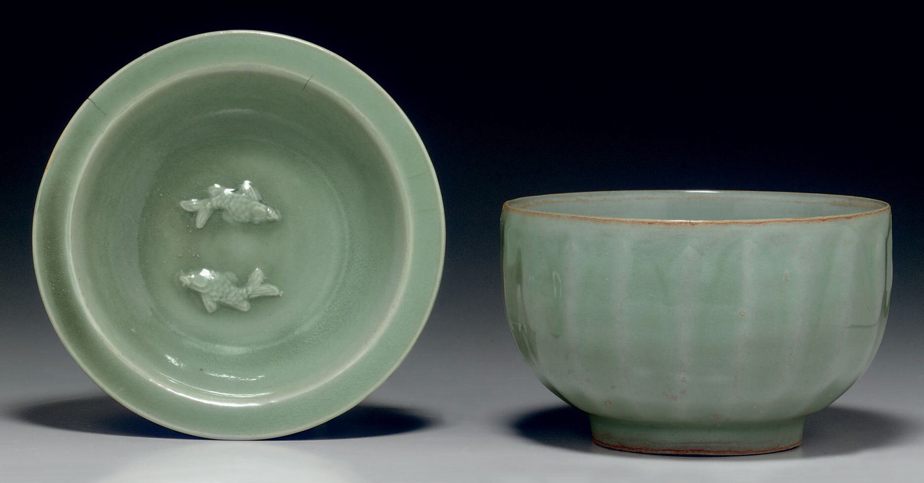 Two longquan celadon vessels, Southern Song dynasty (1127-1279)
