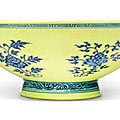 A ming-style underglaze-blue yellow-ground bowl, qianlong seal mark and period (1736-1795)