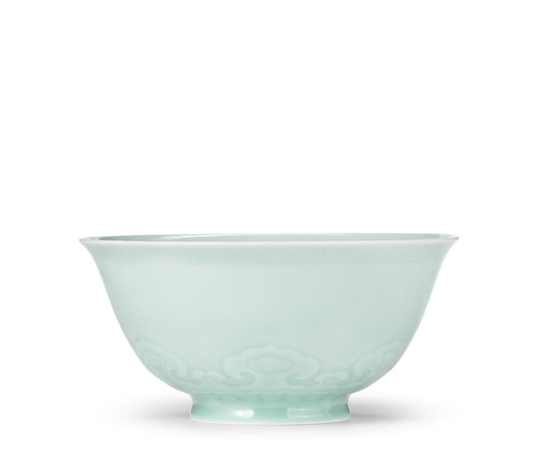 A rare celadon-glazed bowl, Yongzheng six-character mark and of the period (1723-1735)