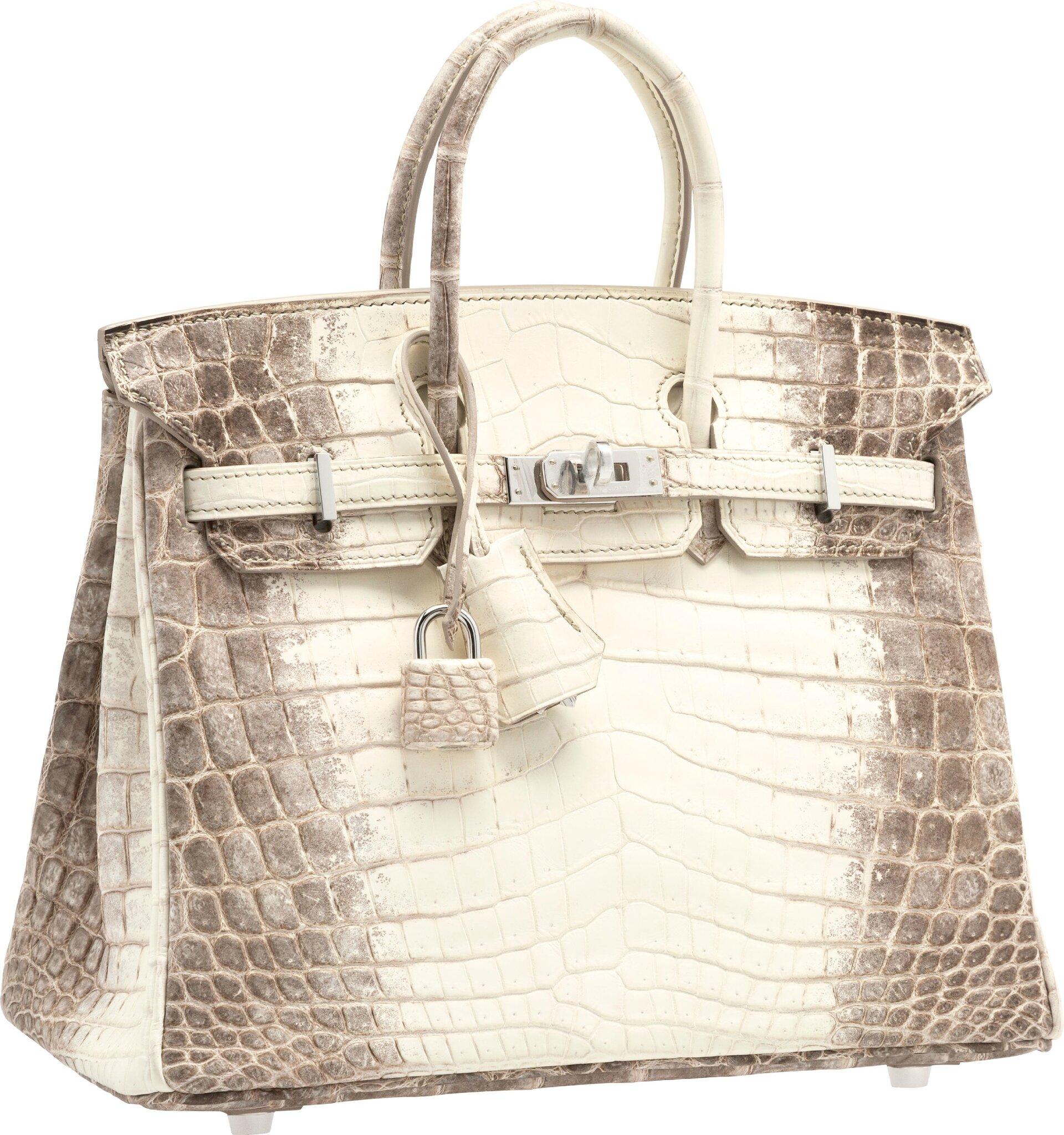 9c42c4da4db7 4 · 5 · 6. Lot 58201. Hermès 25cm Matte White Himalayan Nilo Crocodile  Birkin Bag with Palladium Hardware.
