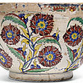 An exceptionally large kutahya polychrome pottery bowl, turkey, mid 18th century