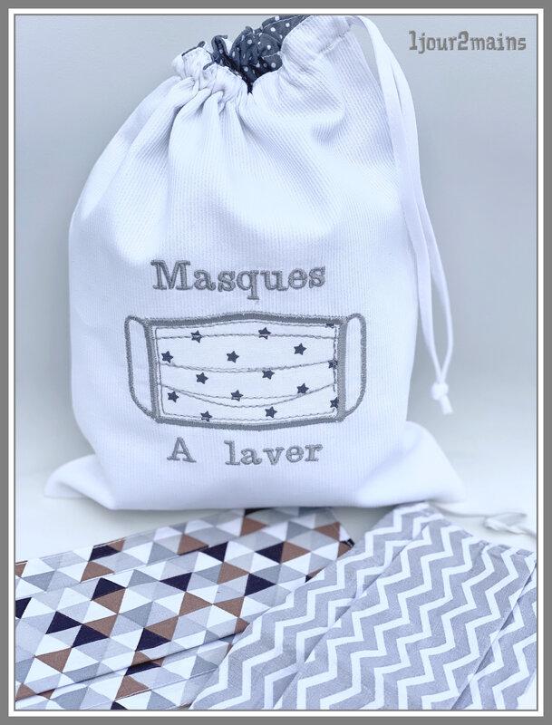 sac masques a laver blanc