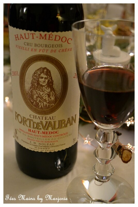 Menu de fêtes Vin Haut Médoc Fort de Vauban