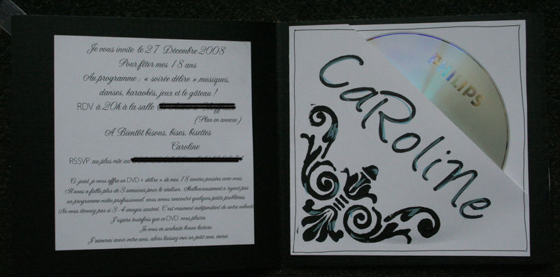 carte invitation 18 ans caro objectifanfan. Black Bedroom Furniture Sets. Home Design Ideas
