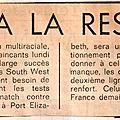 Tournée du xv de france en afrique du sud - juin 1975