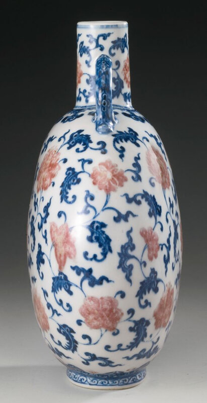 A copper-red and underglaze-blue moonflask, Qing dynasty, 18th century2