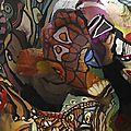 Hervé THAREL - SCHMIMBLOCK'S chevo 2011 - 30 cmx 23 cm x 18,5 cm gouache T7 sur argile (détail4)