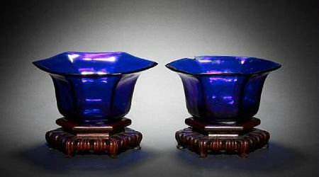 A pair of Beijing translucent blue glass six-sided flaring bowls. Late 18th/19th century © 2002-2010 Bonhams 1793 Ltd