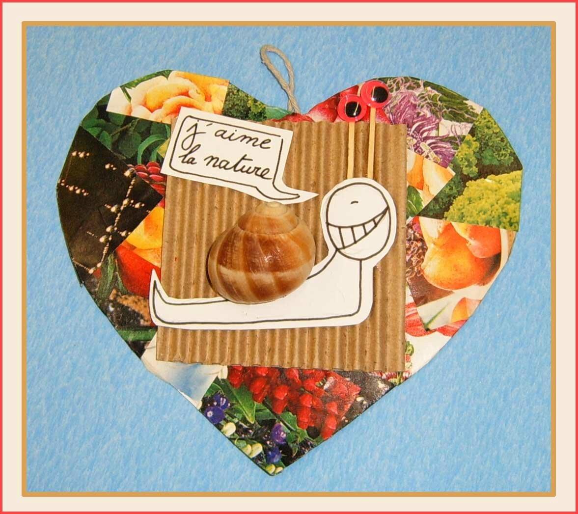 Petit coeur Escargot j-aime la nature Isabelle Levieux Optimisterre - Papiers cartons de récupération