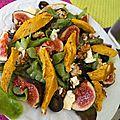 Salade d'automne (figues, raisin, roquefort, noix, blanc de poulet)