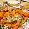 Saumon et patate douce en papillote, sauce crème fraîche au citron