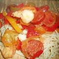 Spaghetti aux noix de st jacques et chorizo