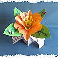 Carte boite pop-up et grosse fleur en couleur
