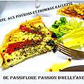 Tarte feuilletée aux poivrons rouges - fromage raclette et crème au curcuma