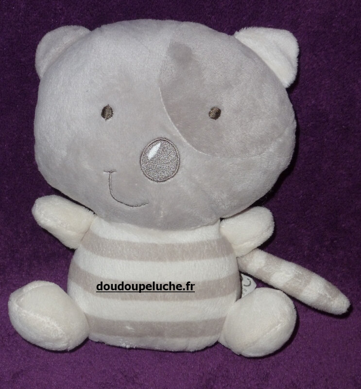Doudou chat orchestra gris blanc, velours, www.doudoupeluche.fr