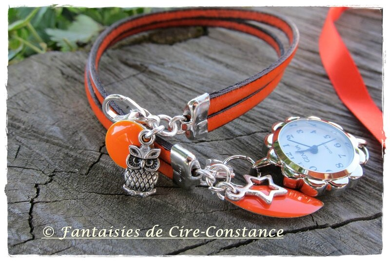 Collier Anne D hibou mandarine et montre cuir orange assortie-3