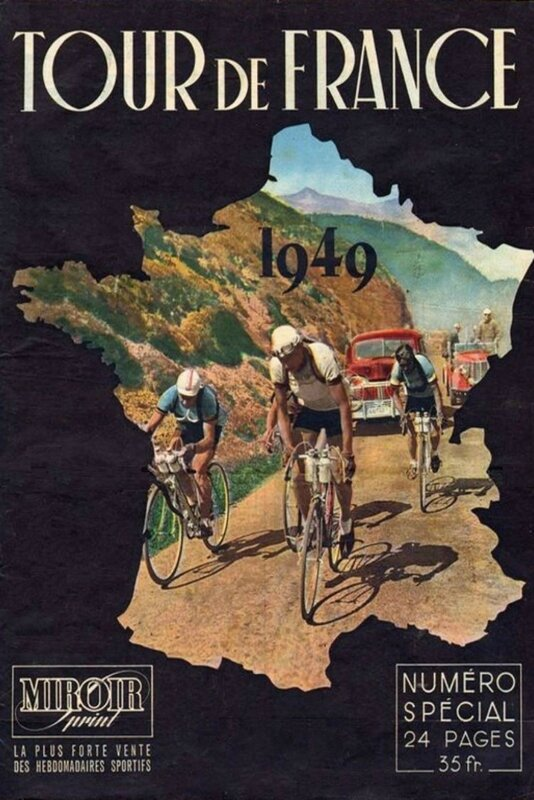 Affiche Tour de France 1949 Miroir Sprint