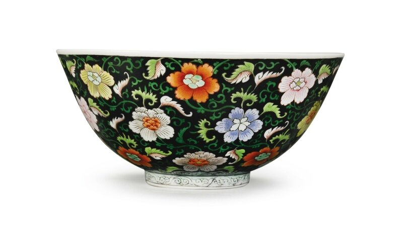 A Black-Ground Famille-Rose Bowl, Yongzheng Mark and Period (1723-1735)