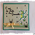 Carte scrappée : il pleut, il mouille, c'est la fête à la grenouille ...