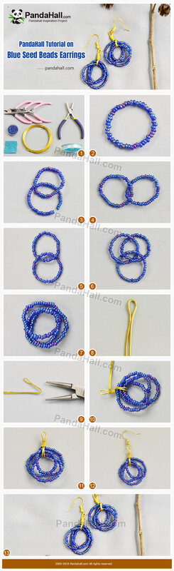 2-PandaHall Tutorial on Blue Seed Beads Earrings