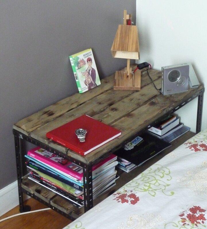 table basse chevet metal bois industriel 4