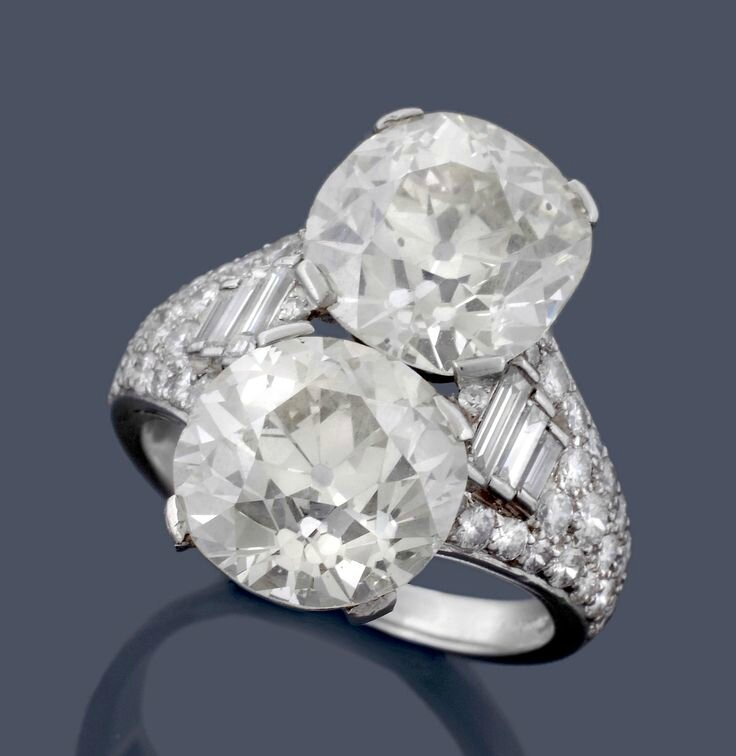 A two stone diamond Trombino ring by Bulgari, circa 1950